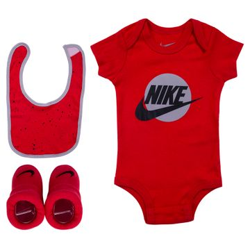 Nike | University Red Nike Bodysuit, Hat and Booties 3-Piece Set