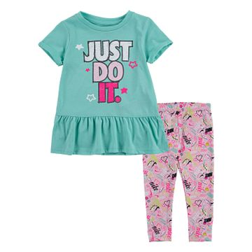 Nike | Nike Peplum T-Shirt and Printed Leggings 2-Piece Set