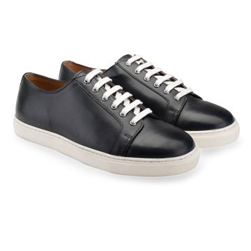 Hats Off Accessories | Hats Off Accessories Genuine Leather Navy Lace-Up  Sneakers