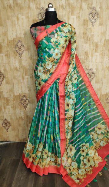 SATIMA   Satima Multi color line blend digital print saree