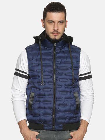 Showoff | Men Blue Solid Gilet Jacket with Detachable Hood