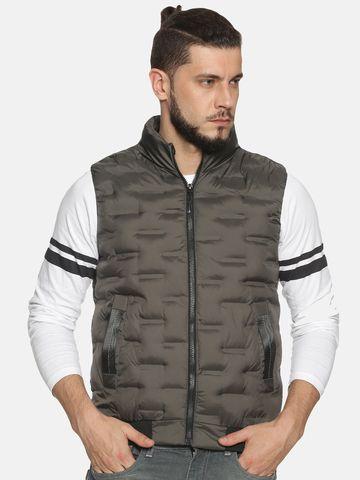Showoff | Men Grey Solid Gilet Jacket with Detachable Hood