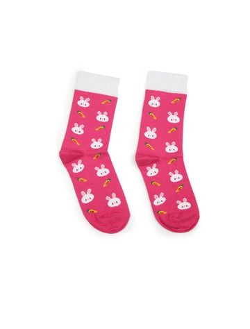 Soxytoes | Soxytoes Bunny Cotton Crew Length Pink Kids Socks-Age (8-12 Years)