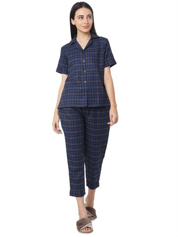 Smarty Pants | Smarty Pants women's cotton navy blue checkered night suit