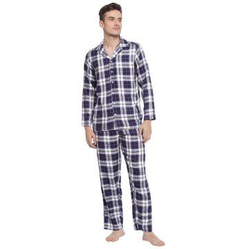 BASIICS by La Intimo   Relaxed Checker Pyjama Shirt set (Blue)