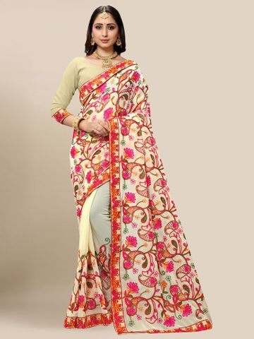 SATIMA | Women Cream Yellow Georgette Embroidered Party Saree