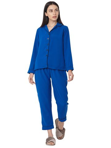 Smarty Pants | Cotton Royal Blue Full Sleeves Night Suit