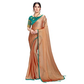 SATIMA | Designer Orange Georgette Leheriya Lace Saree