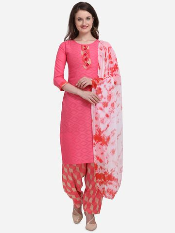 SATIMA | Women's Pink Solid Cotton Unstitched Salwar Suit