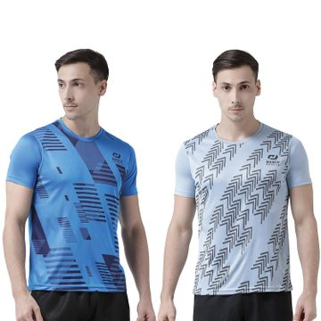 Masch Sports | Masch Sports Men India Blue-Light Grey Printed Regular Fit Round Neck Soft Polyester Sports T-Shirt Combo - Active Wear, Sports Wear & Gym Wear T-Shirt for Men-Large