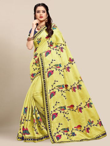 SATIMA | Latest Yellow Colour Embroidered Cotton Blend Saree