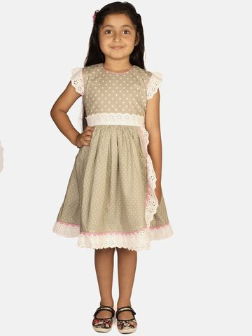 Ribbon Candy | RIBBON CANDY Girl's Grey Sky Overlap dress with Lace trim