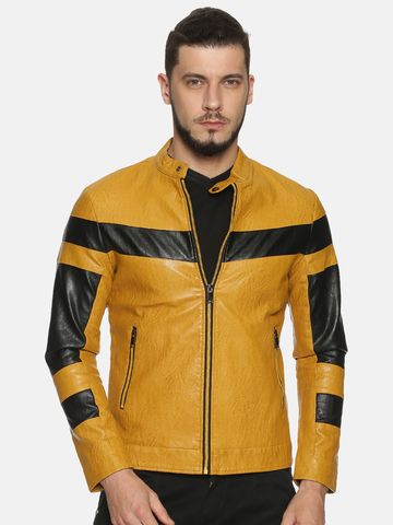 Showoff | Men Yellow Casual Solid Leather jacket