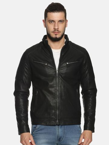 Showoff | Men Black Solid Leather jacket with Detachable Hood