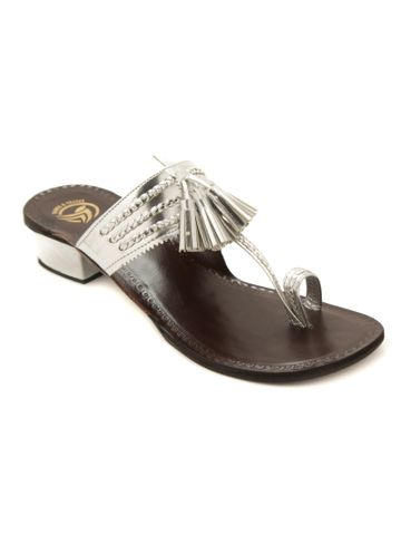 Trends & Trades | Silver Semi Heels Sandal With Tassel By Trends & Trades