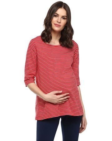 Mothercare | Momsoon women maternity three-fourth sleeves top-Striped Red