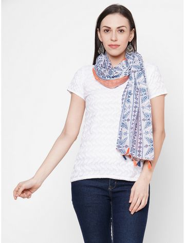 Get Wrapped | Get Wrapped Orange Polyester Printed Scarf with Tasselled Border