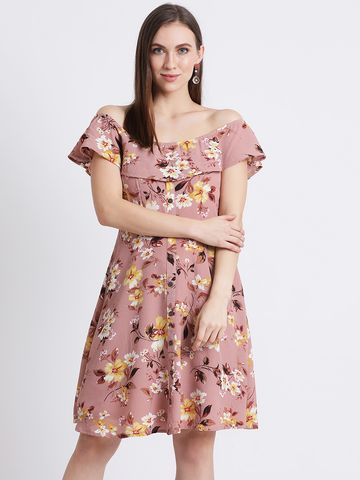 Zink London | Zink London Women's Pink Printed Fit and Flare Dress