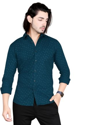 5th Anfold | Fifth Anfold Mens Polka Printed Casual Pure Cotton Full Sleev Pekok Shirt