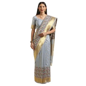 SATIMA | Satima Grey & MultiSilk BlendWoven Zari Saree