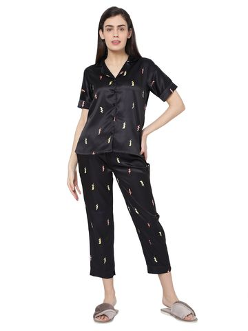 Smarty Pants | Smarty Pants women's silk satin black color flash print night suit
