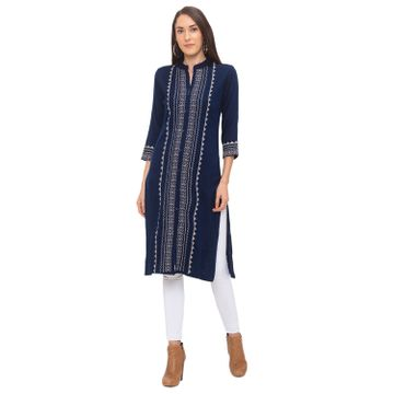 globus | Globus Navy Blue Striped Kurta