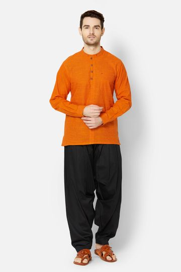 Ethnicity   Orange Cotton pin stripe kurta