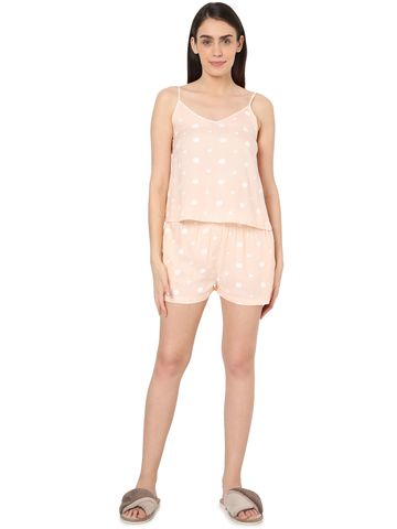 Smarty Pants | Smarty Pants women's cotton pastel peach color heart & polka dot print night suit