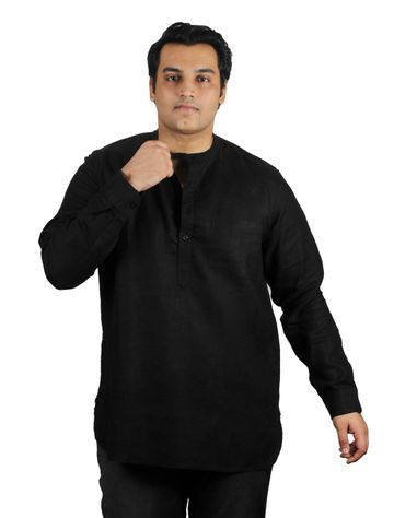 XMEX | Xmex Plus Size Black Linen 3/4 Rollup Sleeve Kurta with Pocket for Men