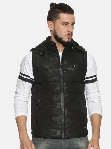 Showoff | Men Black Solid Padded Jacket with Detachable Hood