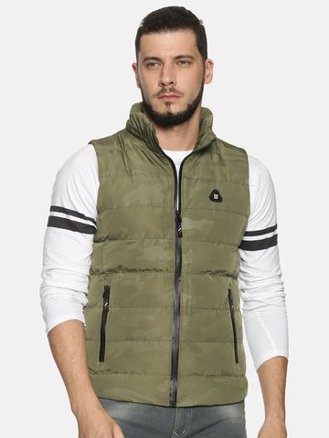 Showoff | Men Green Solid Padded Jacket with Detachable Hood
