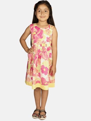 Ribbon Candy | RIBBON CANDY Girl's Pink Floss Sleeveless Keyhold Fit and Flare Dress