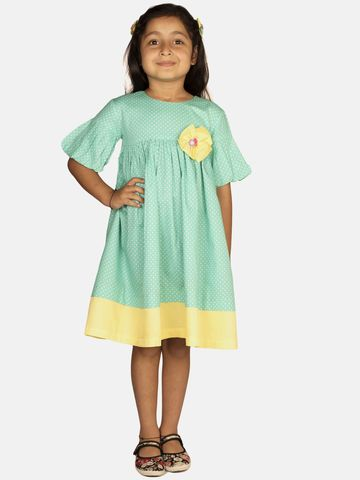 Ribbon Candy   RIBBON CANDY Girl's Minty Wave Balloon Sleeve Fit and Flare Dress