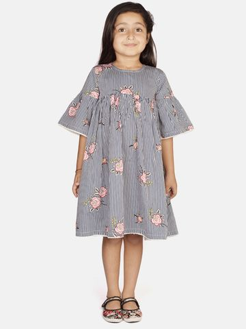 Ribbon Candy   RIBBON CANDY Girl's Navy Pop Bell Sleeves Fit and Flare Dress