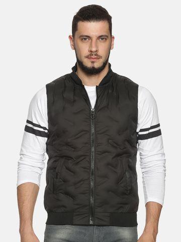 Showoff | Men Black Solid Gilet Jacket with Detachable Hood