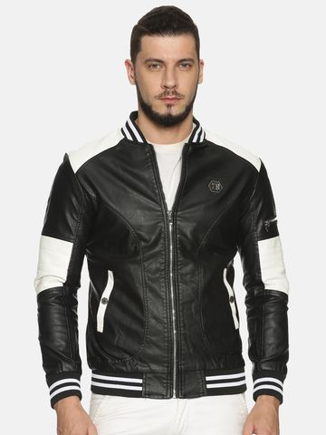 Showoff | Men Black&White Casual Solid Leather jacket