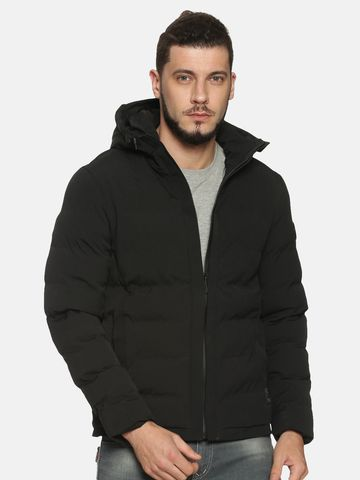 Showoff | Men Black Solid Padded Jacket with Detachable Hood