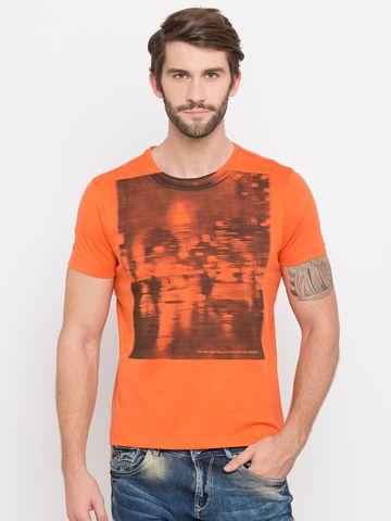 spykar | Spykar Orange Printed Slim Fit T-Shirts