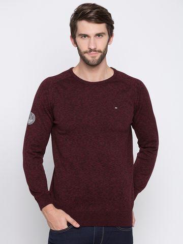 spykar   Spykar Maroon Melange Slim Fit Sweaters