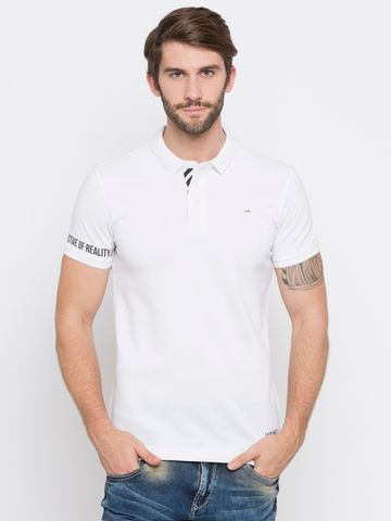 spykar | Spykar White Solid Slim Fit Polo T-Shirt