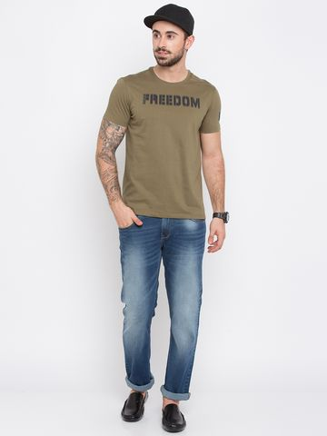 spykar | Spykar Olive Solid Slim Fit T-Shirts