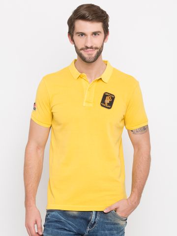 spykar | Spykar Yellow Solid Slim Fit Polo T-Shirt