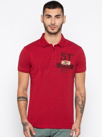 spykar | Spykar Red Printed Slim Fit Polo T-Shirt