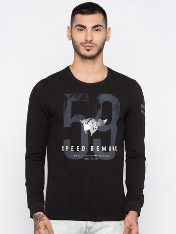 spykar   Spykar Black Printed Slim Fit T-Shirts
