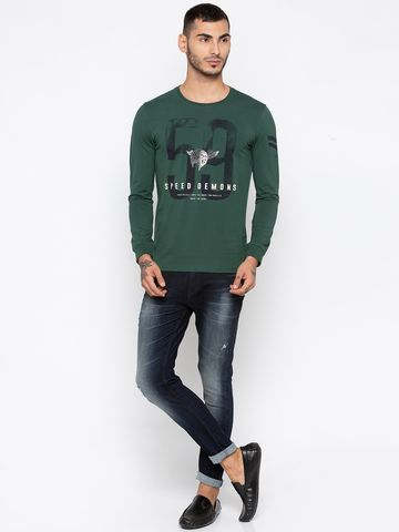 spykar | Spykar Green Printed Slim Fit T-Shirts
