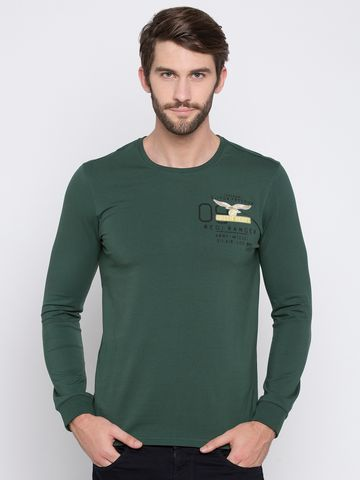 spykar | Spykar Green Solid Slim Fit T-Shirts