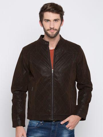 spykar | Spykar Brown Solid Regular Fit Front Open Jackets
