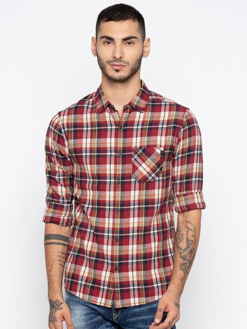 spykar | spykar Red Checked Slim Fit Casual Shirt