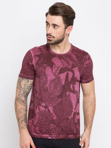 spykar | Spykar Wine Printed Slim Fit T-Shirts
