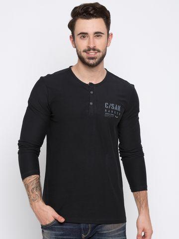 spykar | Spykar Black Solid Slim Fit T-Shirts